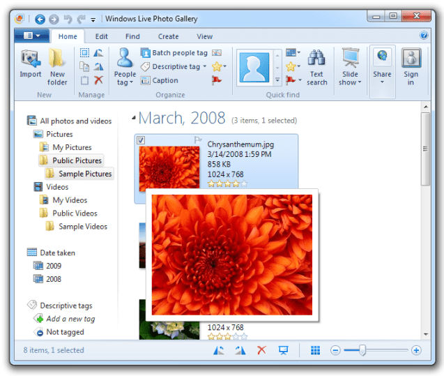 Windows Live Photo Gallery - GUI