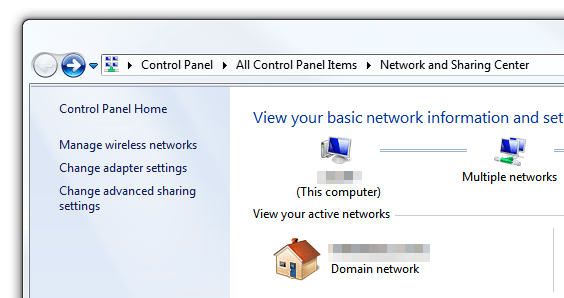 Windows 7 - Network and Sharing Center - Left pane