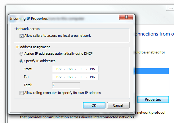Windows 7 VPN Server - Incoming IP properties