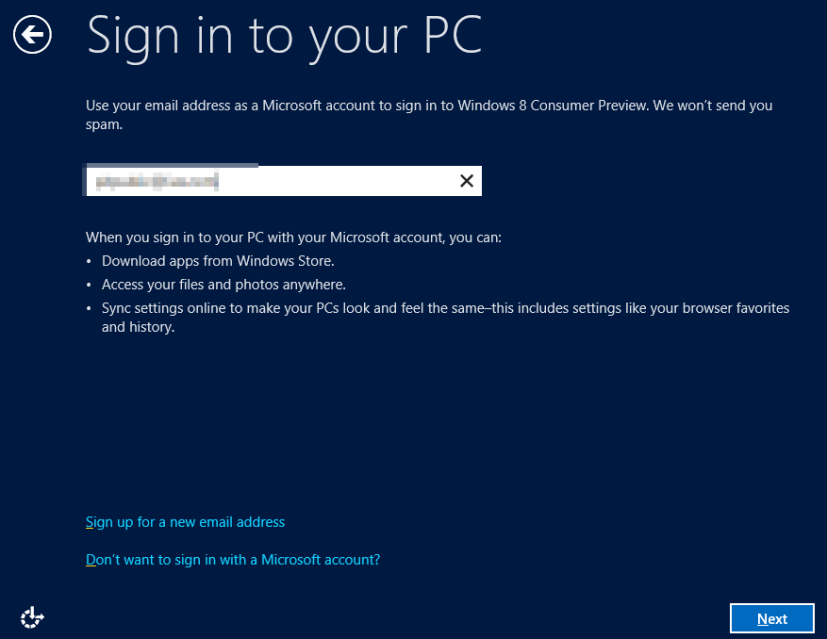 Sign In your PC  - Windows 8 Consumer Preview
