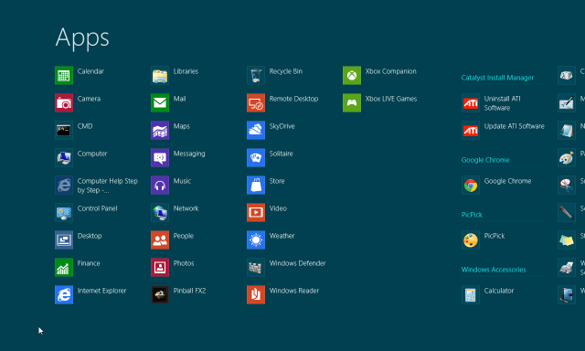 All Apps - Windows 8