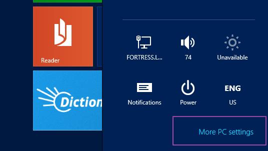 More PC Settings - Windows 8