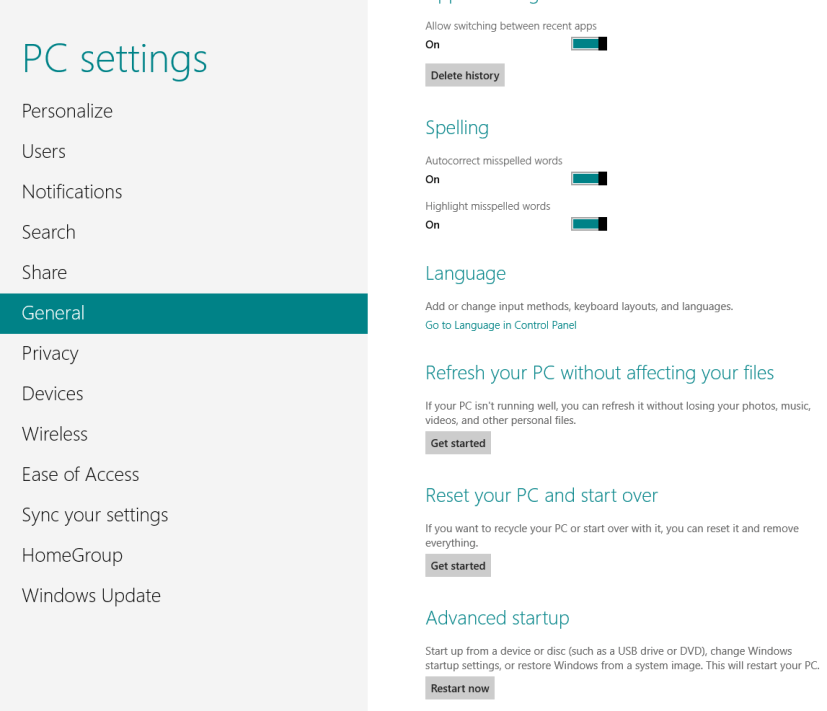PC settings - Windows 8