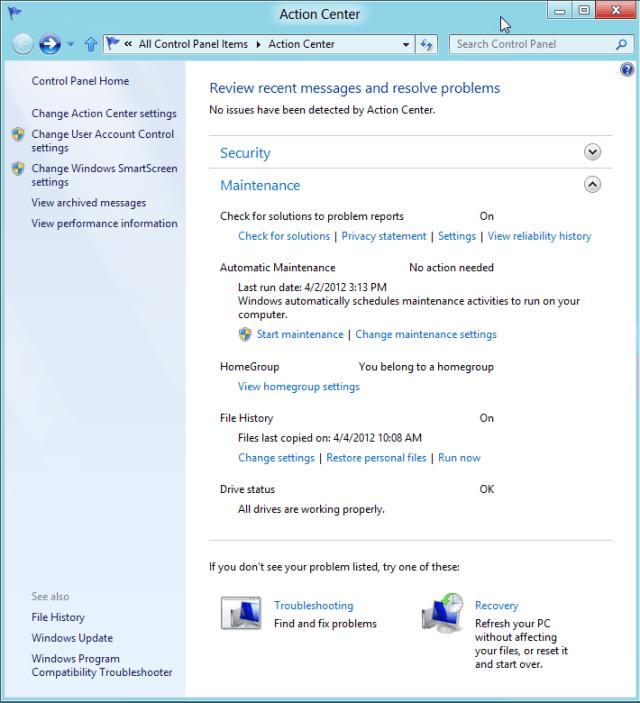 Action Center Windows 8