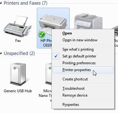 Printer properties  Windows menu