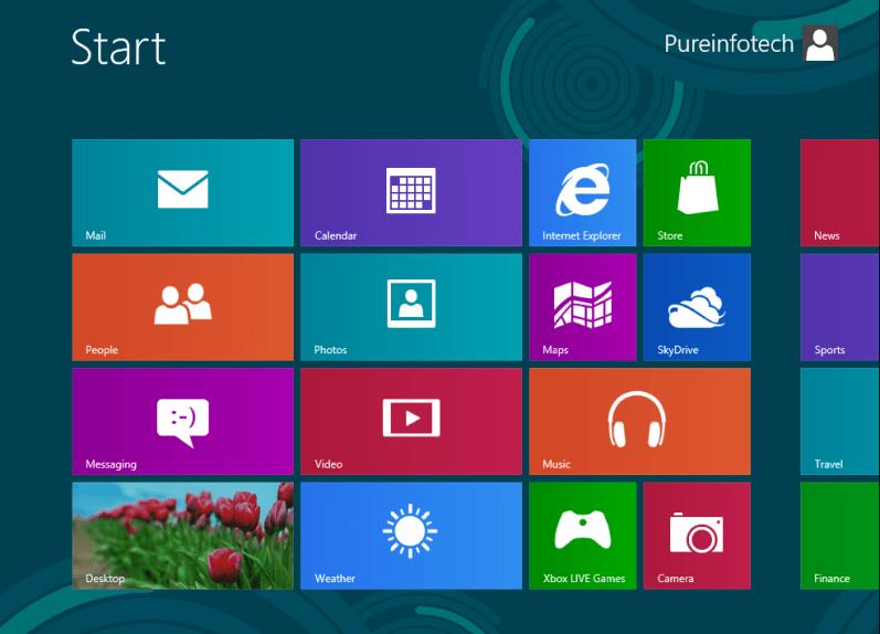 Start screen - Win 8 RP