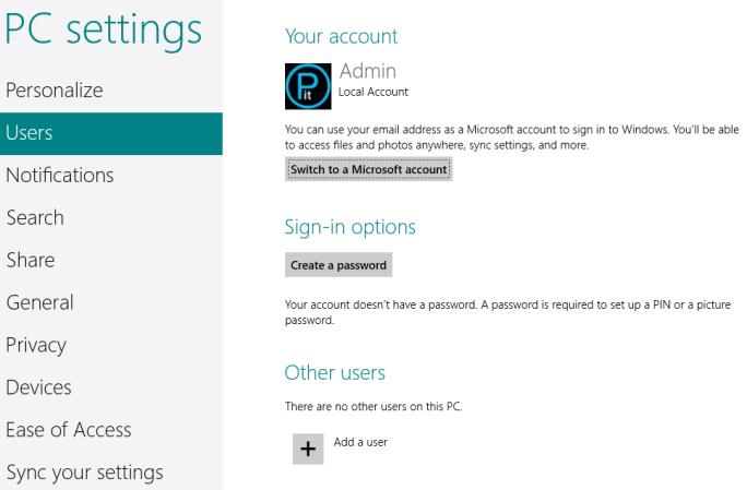 Users modern settings