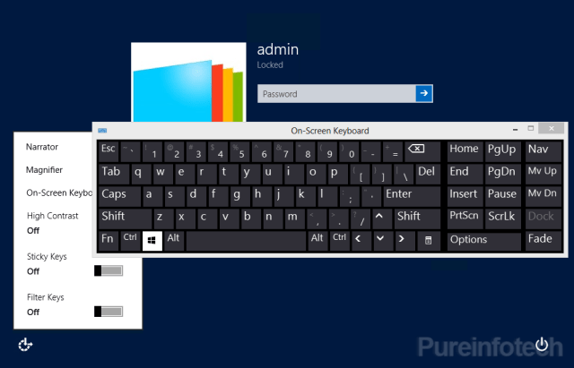 Sing-in screen with Easy of access plus on-screen keyboard