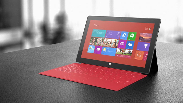 Surface with red cover
