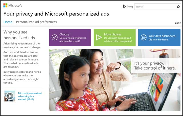 Privacy settings Microsoft account