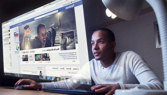 Person accessing Facebook