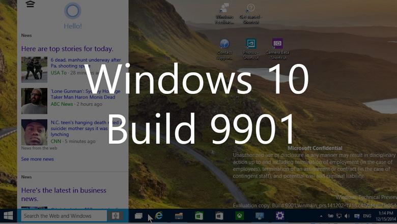 Cortana running on the Windows 10 build 9901 desktop