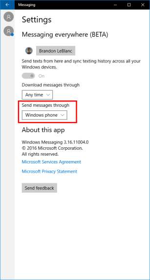 How to send SMS text using Messaging app on Windows 10 PC ...