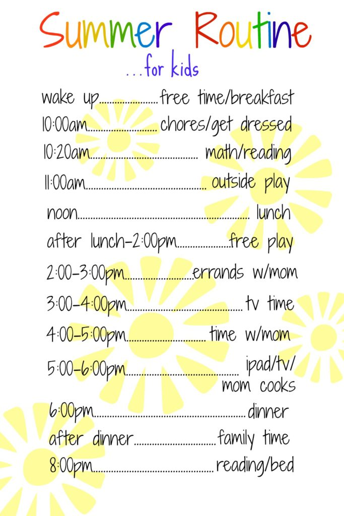 A Daily Routine for Kids Over the Summer Purely Easy