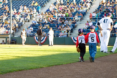 Photographs of the Red FireCrackers Tee Ball starring role at the Everett Aquasox minor league baseball game in Everett, Washington