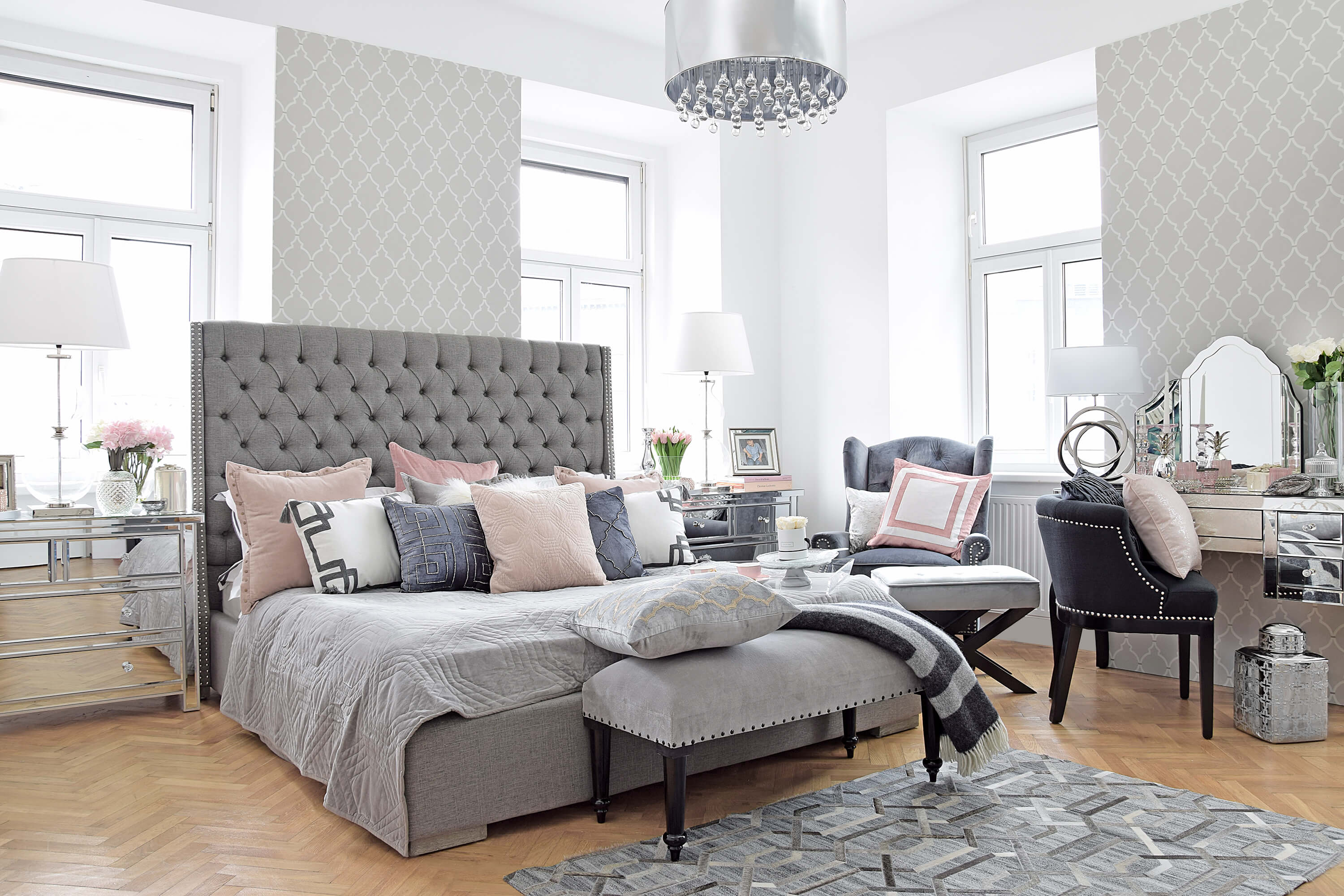 Master Bedroom Schlafzimmer In Grau Rosa Looks