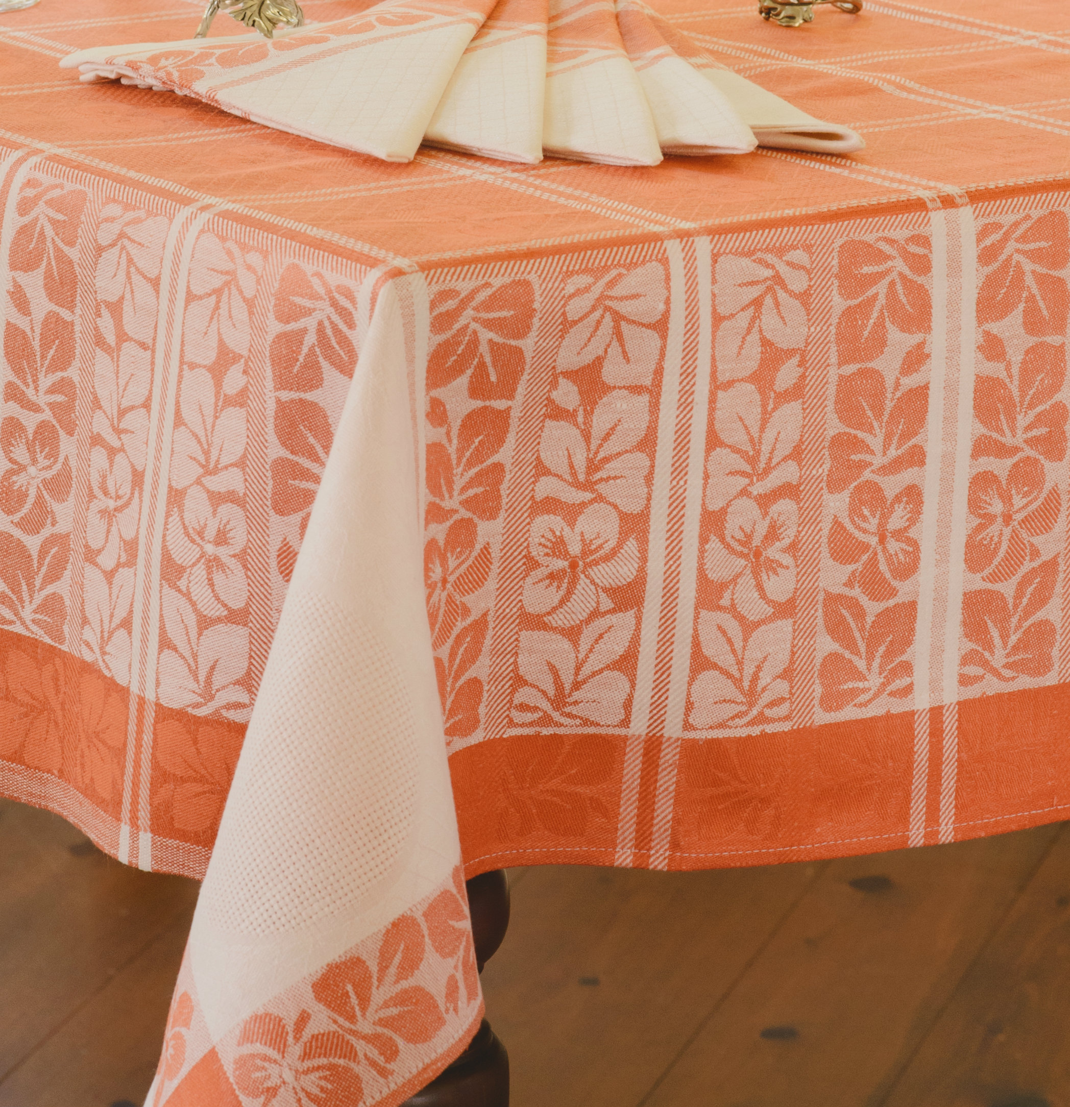 Table Solde Nappe En Lin Avec 6 Serviettes De Table- Orange Et Blanc