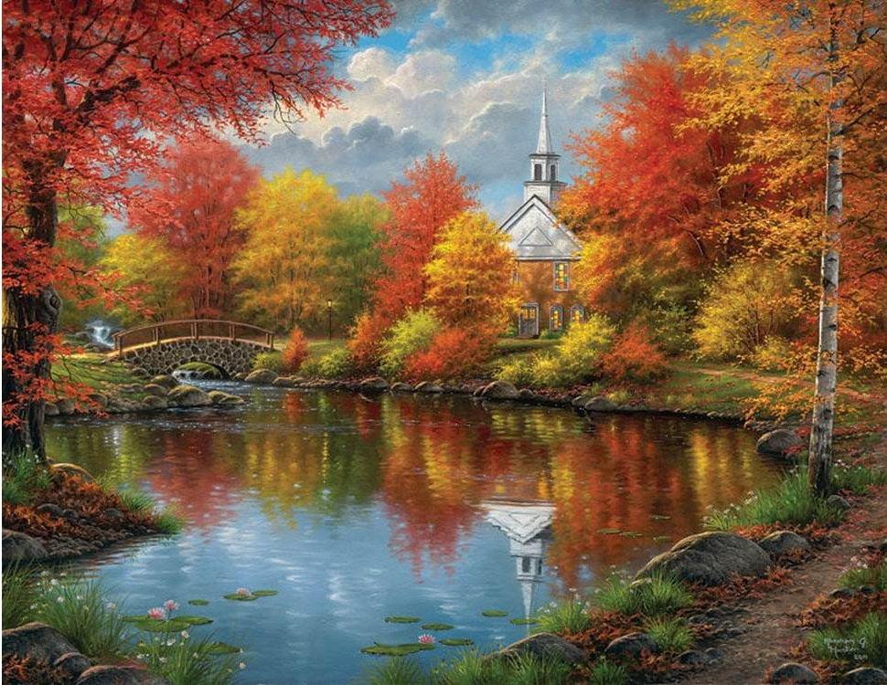 Thomas Kinkade Fall Wallpaper Autumn Tranquility 1000 Large Piece Jigsaw Puzzle