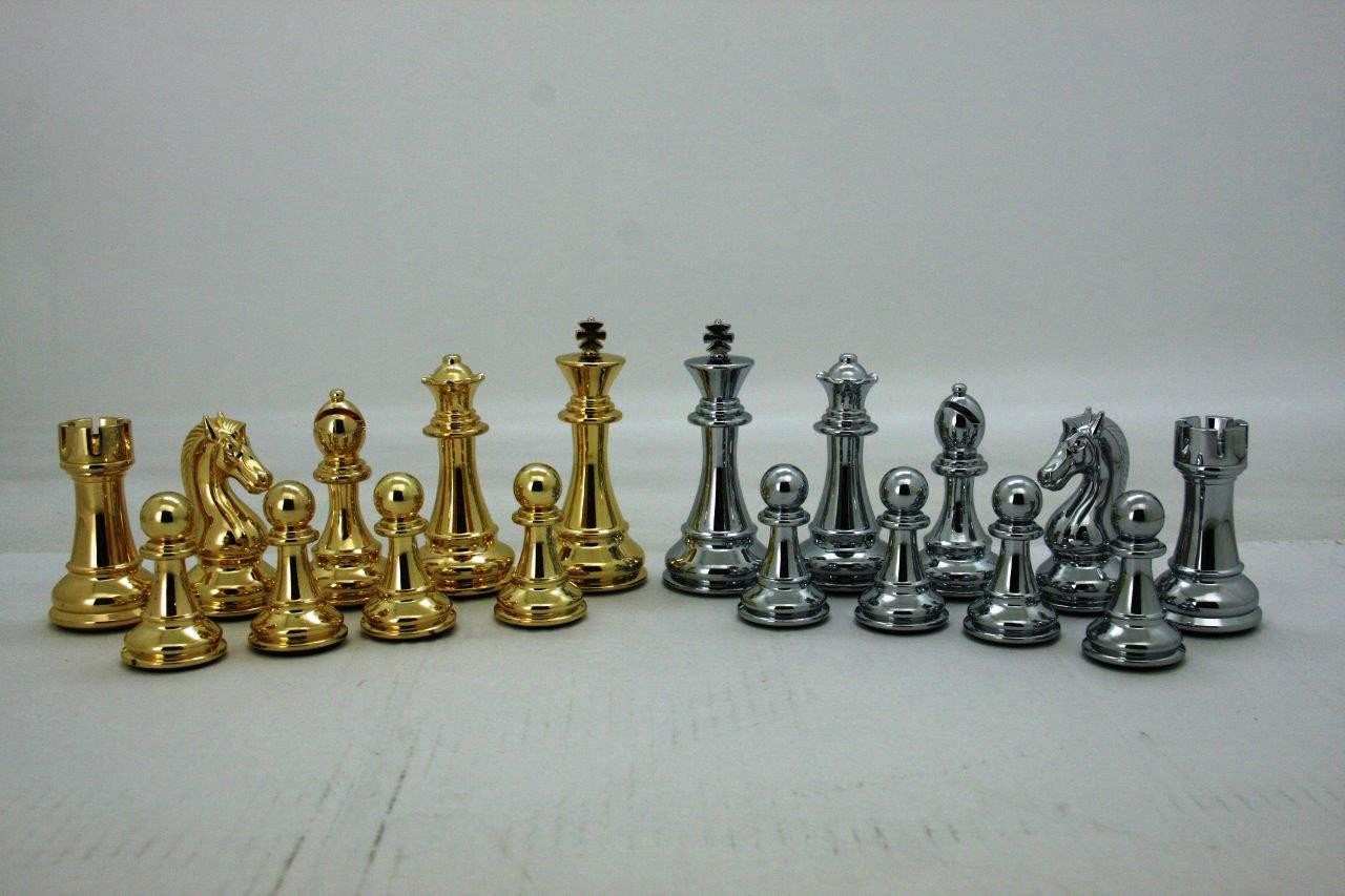 Gold Chess Pieces Dal Rossi Italy Gold And Silver Weighted Chess Pieces 110mm Chess