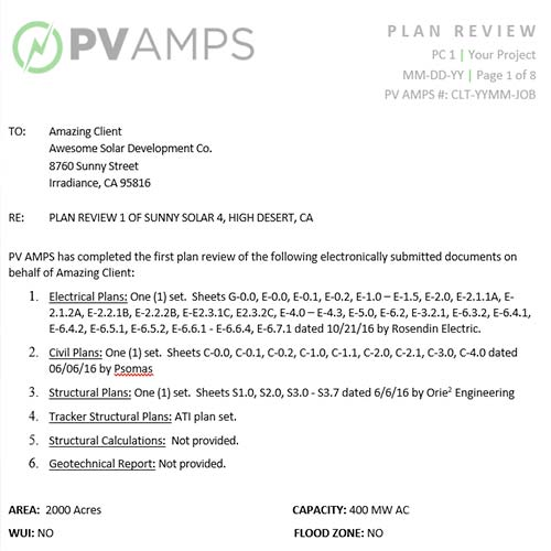 PLAN REVIEW EE, SE, CE - PV AMPS Commercial and Utility Scale