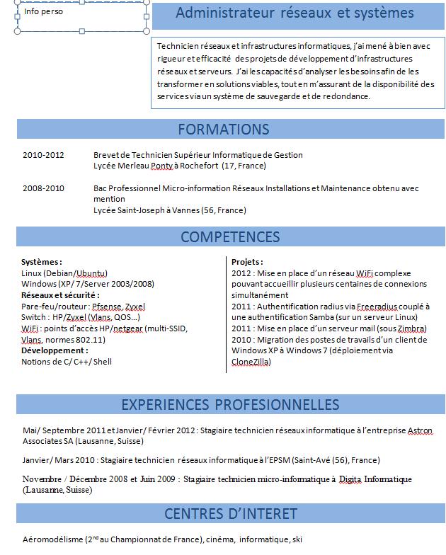 Exemple de CV  info