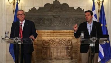 Ο πρωθυπουργός Αλέξης Τσίπρας (Δ) και ο πρόεδρος της Ευρωπαΐκής Επιτροπής Jean Claude Juncker (Α) κάνουν δηλώσεις μετά τη συνάντηση τους στο Μέγαρο Μαξίμου, Αθήνα Τρίτη 21 Ιουνίου 2016. Ο Jean Claude Juncker βρίσκεται στην Αθήνα σε μονοήμερη επίσκεψη εργασίας.  ΑΠΕ-ΜΠΕ/ΑΠΕ-ΜΠΕ/ΟΡΕΣΤΗΣ ΠΑΝΑΓΙΩΤΟΥ