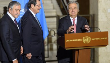 United Nations Secretary General Antonio Guterres arrives with Greek Cypriot President Nicos Anastasiades and Turkish Cypriot leader Mustafa Akinci, for a news conference after the Conference on Cyprus Peace Talks, at the European headquarters of the United Nations in Geneva, Switzerland, January 12, 2017. REUTERS/Martial Trezzini/Pool