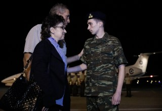 Arrival and welcoming of the two Greek military officers, Angelos Mitretodis and Dimitris Kouklatzis, who were released after staying under custody since March 1st at Edirne Prison, Thessaloniki Internationl Airport 'Macedonia', Greece on August 15, 2018. / Άφιξη και υποδοχή στο Διεθνές Αεροδρόμιο Μακεδονία, των δύο Ελλήνων στρατιωτικών Άγγελου Μητρετώδη και Δημήτρη Κούκλατζη, οι οποίοι αφέθηκαν ελεύθεροι από τις φυλακές της Ανδριανούπολης όπου κρατούνταν από την 1η Μαρτίου, στην Θεσσαλονίκη, στις 15 Αυγούστου, 2018.