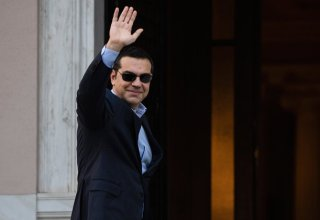 Greek Prime Minister Alexis Tsipras arrives for a meeting with Greek Defense Minister and coalition partner Panos Kammenos at the Maximos Mansion in Athens on January 13, 2019. (Photo by ANGELOS TZORTZINIS / AFP)        (Photo credit should read ANGELOS TZORTZINIS/AFP/Getty Images)