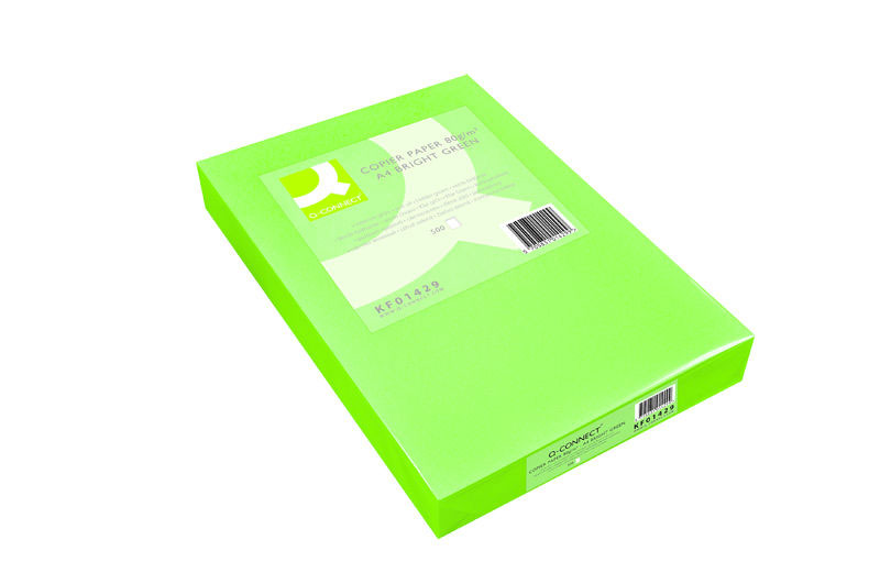 Coloured Copier Paper A3 80g Bright Green Q Connect
