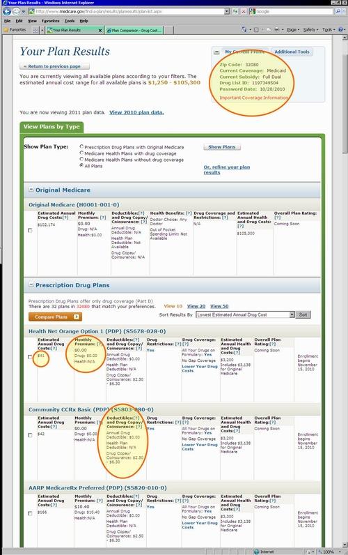 Medicaregov Plan Finder Tutorial from Q1Medicare - Example