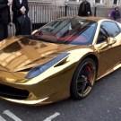 Ferrari 458 Spider Wrapped in Gold Vinyl
