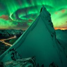 Spectacular View Of Glowing Aurora in Northern Norway