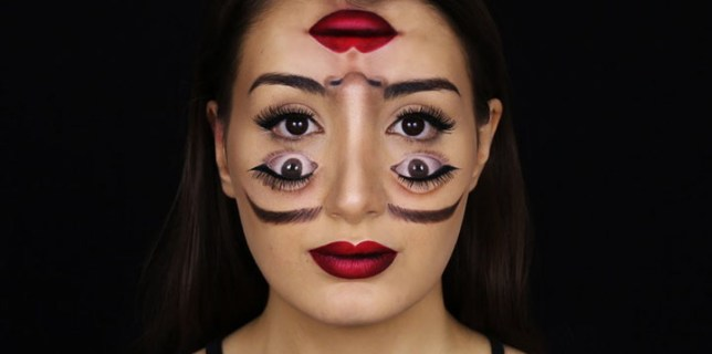 Woman With Double Vision Makeup