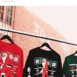 Nas debuted the line of kneeling Santas on Instagram, showing three colors of the sweaters.