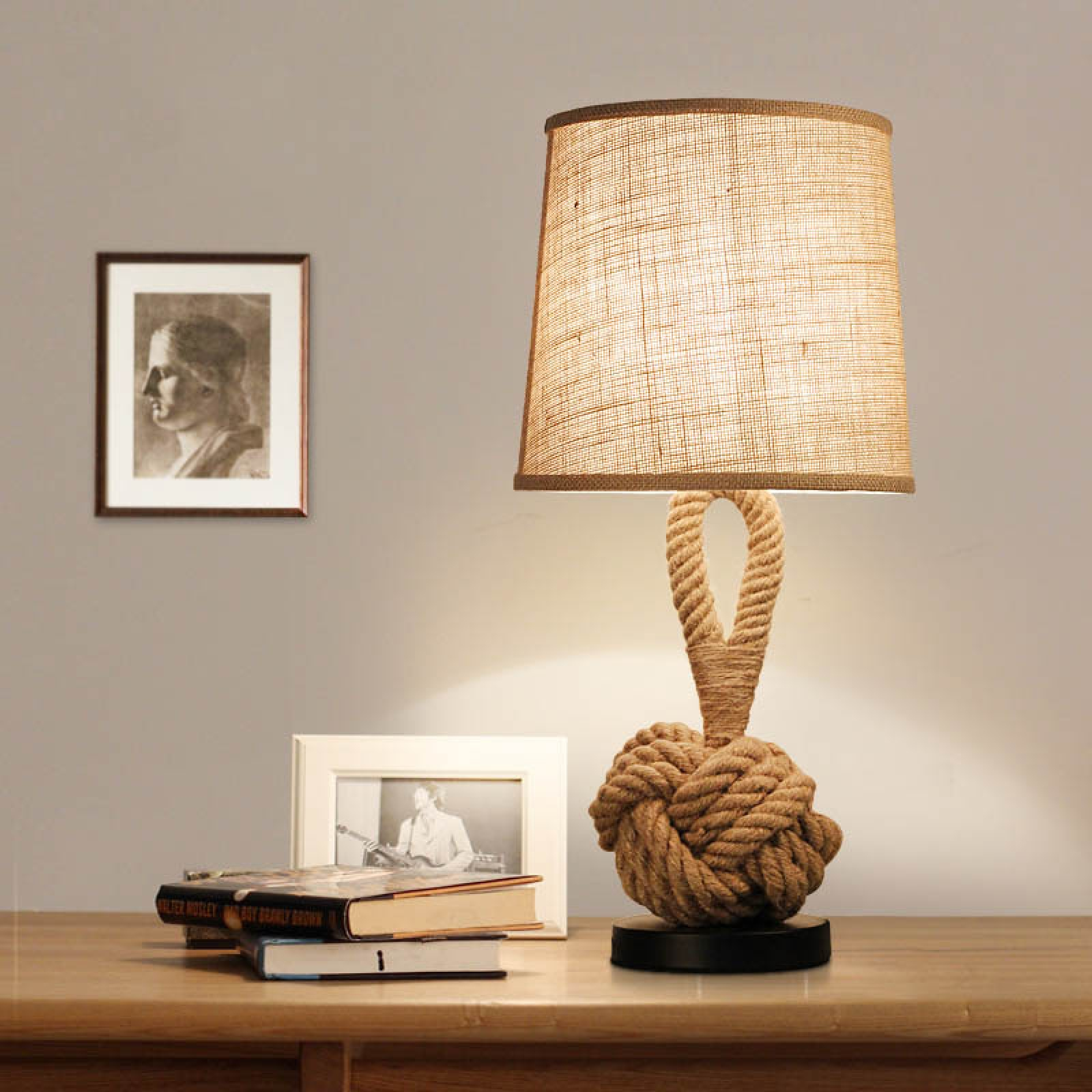 Study Table Light Vintage Rope Linen Led Table Lamp Creative Retro Desk Lamp For