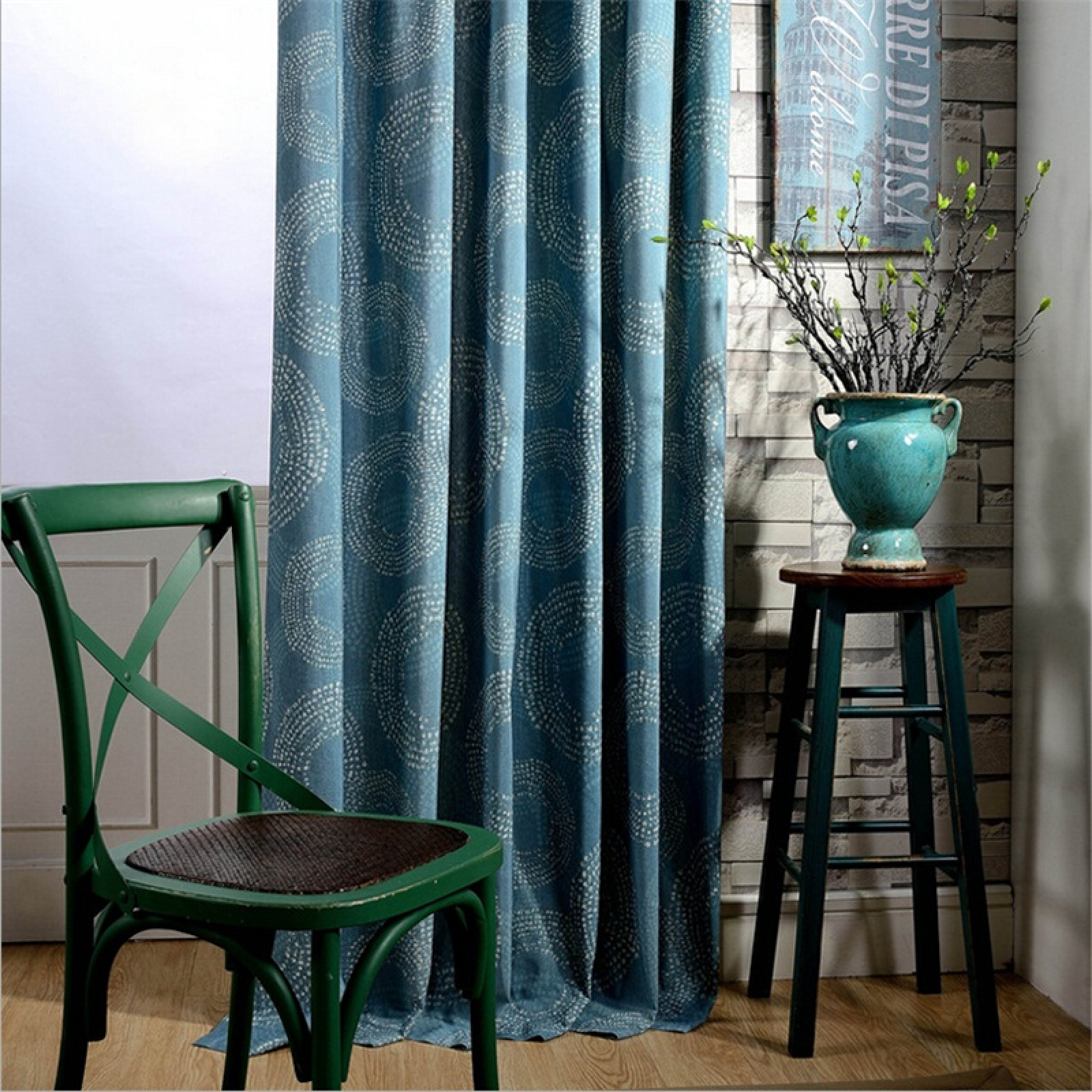 Curtain Insulation Fabric Blue Color Fireworks Design Curtains