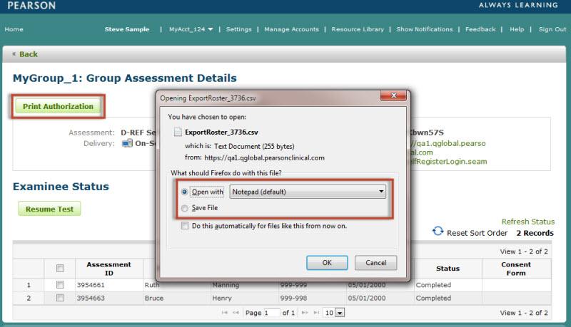 Group Assessment Details