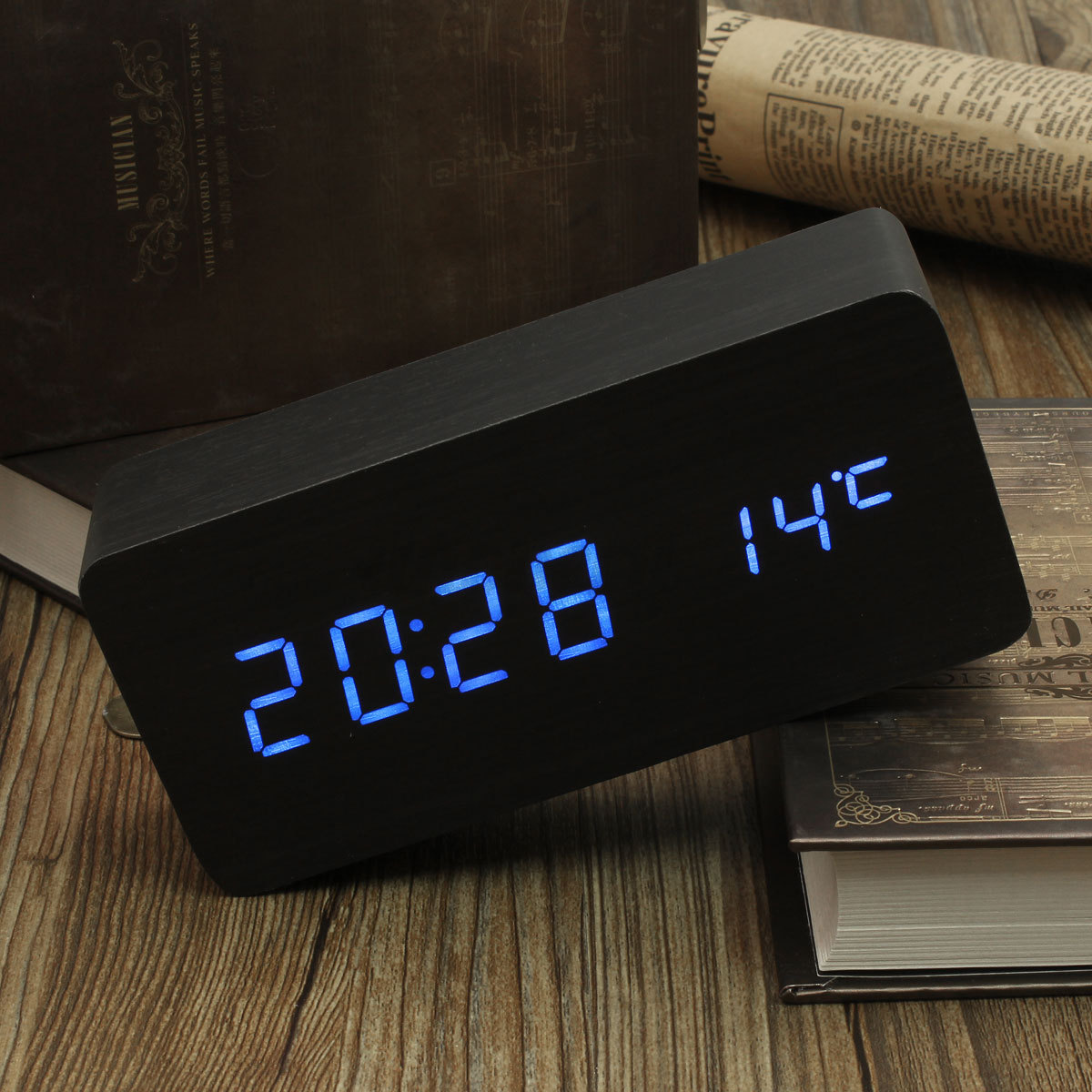Modern Digital Clocks Modern Wooden Led Digital Wood Alarm Time Calendar