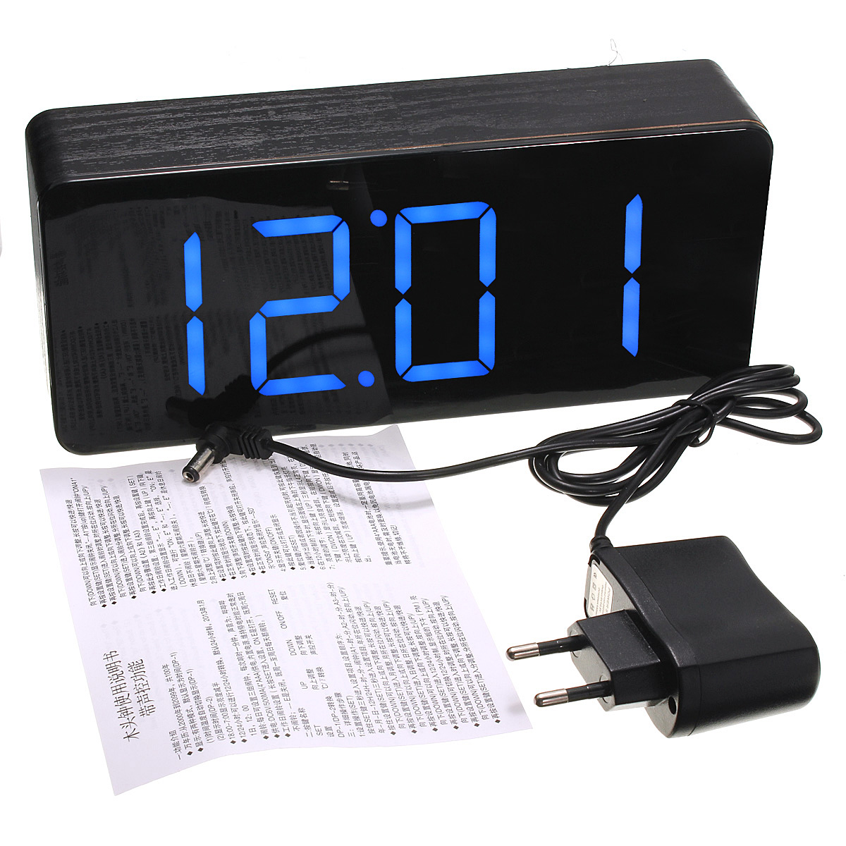 Digital Desk Clock Acrylic Mirror Wooden Digital Led Alarm Desk Clock Time