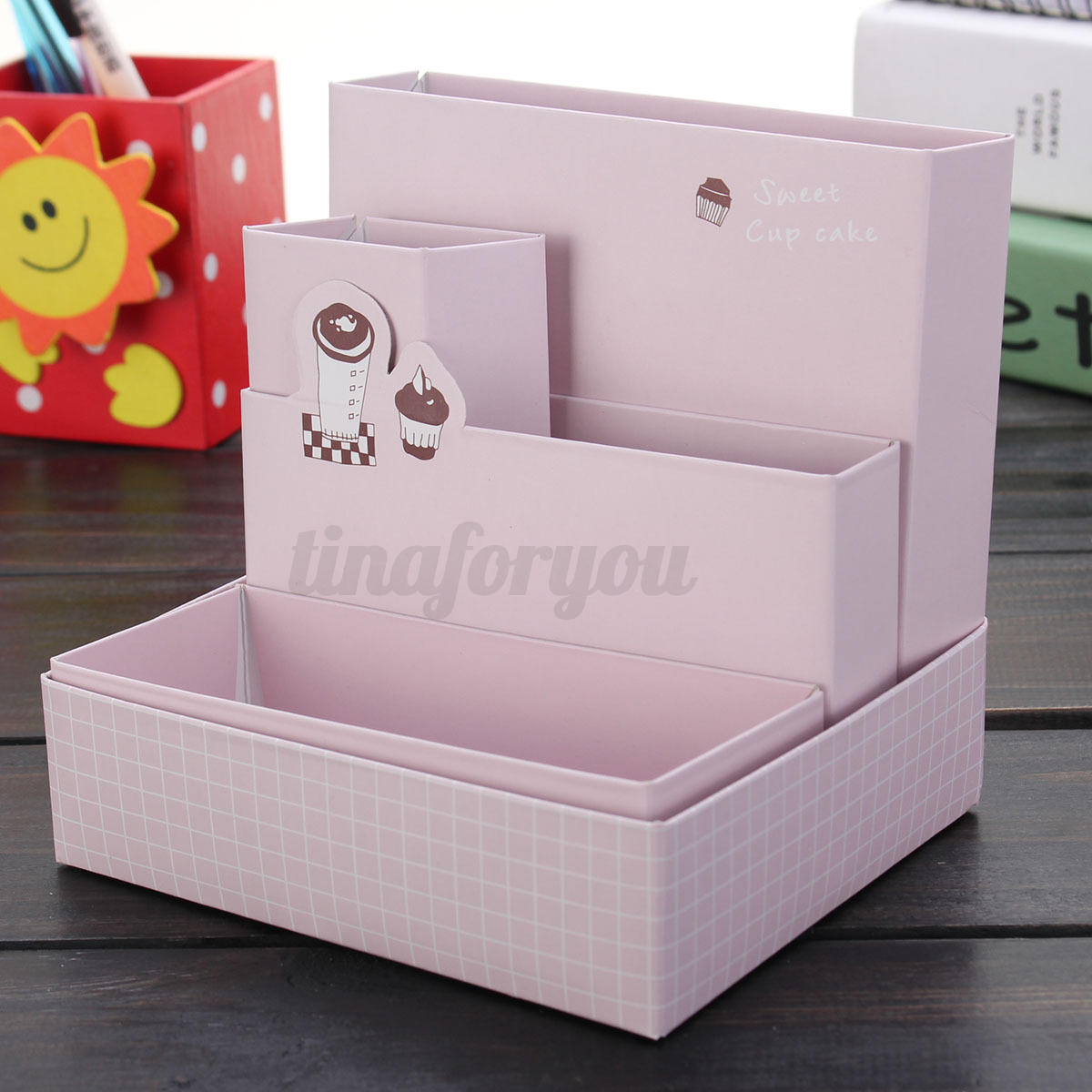 Desk Organiser Stationery Cute Paper Board Storage Box Desk Decor Stationery Makeup