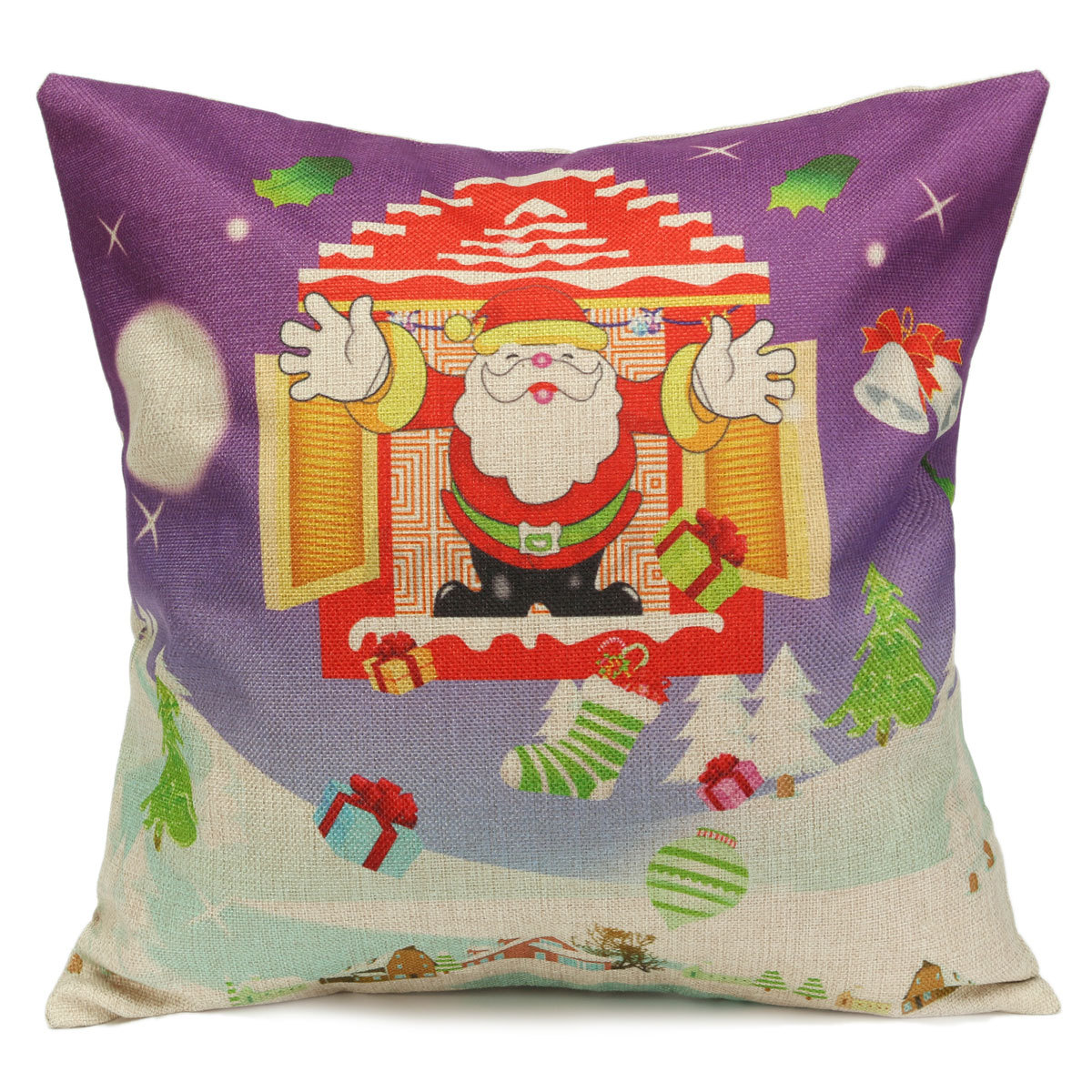 Cushion Covers Christmas Christmas Xmas Linen Cushion Cover Throw Pillow Case Home