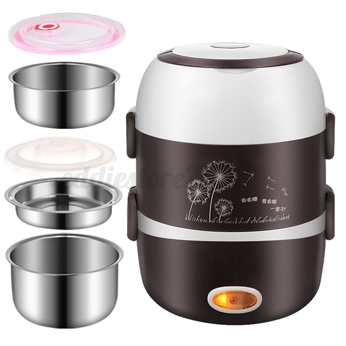 Electric Cooker Portable Electric 3 Layers 2l Portable Lunch Box Cooker Picnic