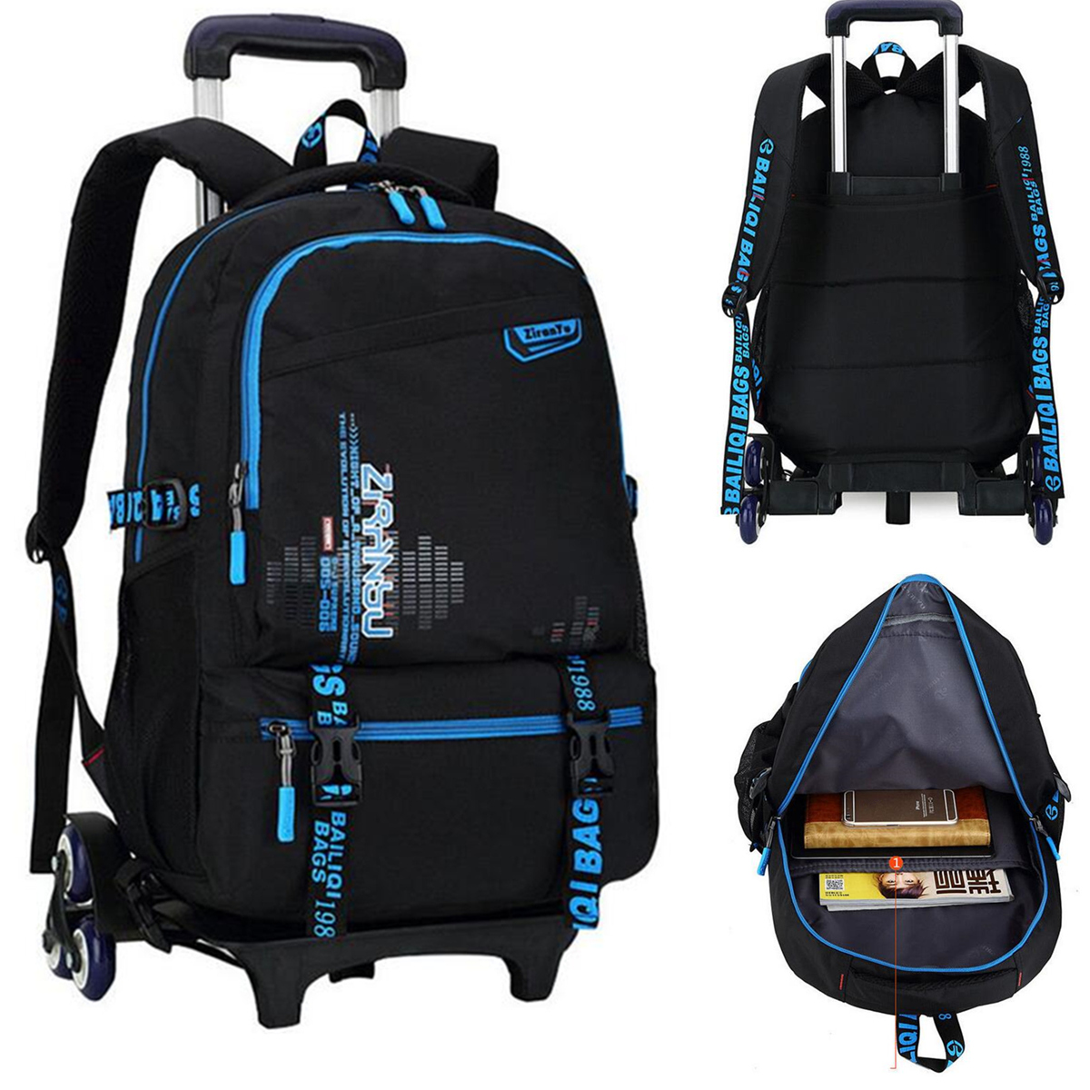 Travel Rucksack Details About 6 Wheels Kids Trolley School Bag Children Removable Backpack Travel Rucksack