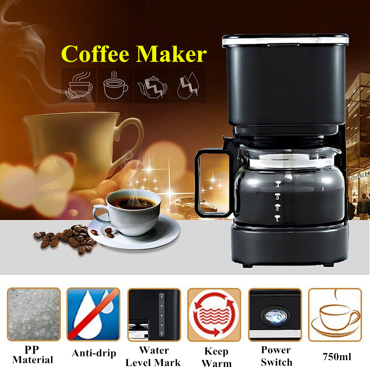 Americano Coffee English 220v 550w 750ml Household Fully Automatic Drip Americano