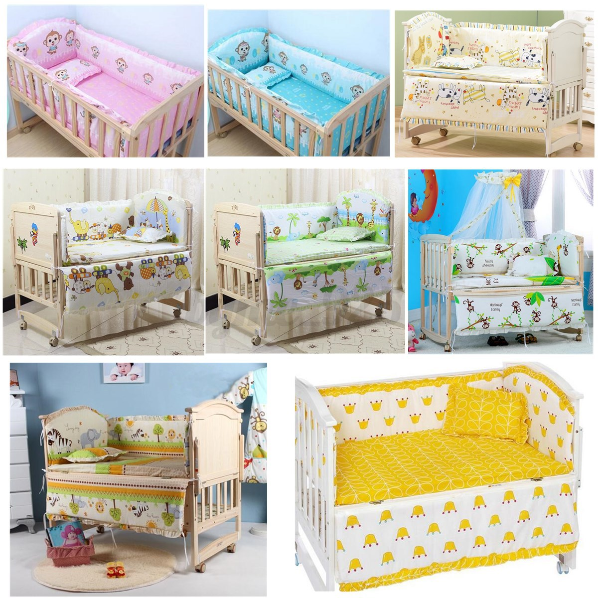 Cot Bedding Australia Au 5pcs Baby Crib Nursery Bedding Set Bed Cotton Padded