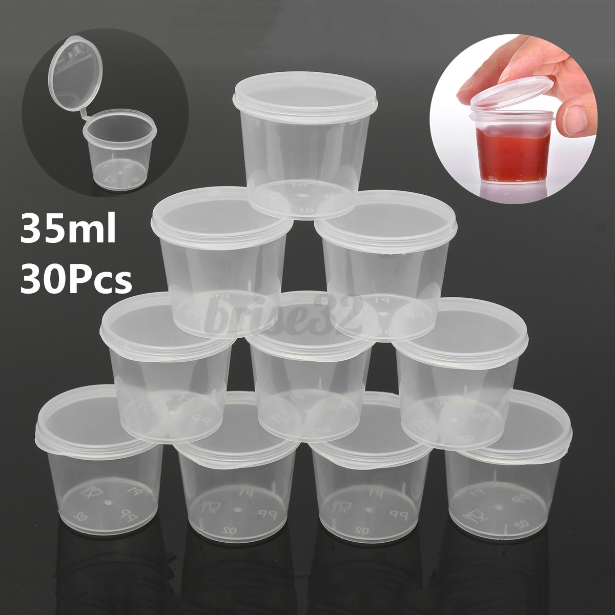 Plastic Containers With Lids 35ml 30 Set Small Plastic Sauce Cups Food Storage