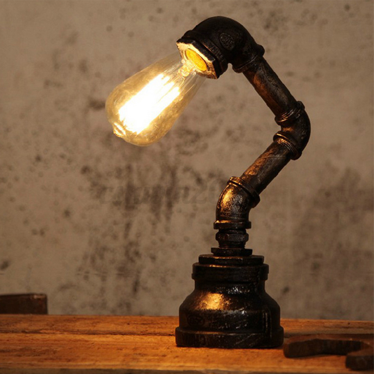 Iron Pipe Light Fixture Vintage Industrial Steel Iron Pipe Lamp Table Desk Light