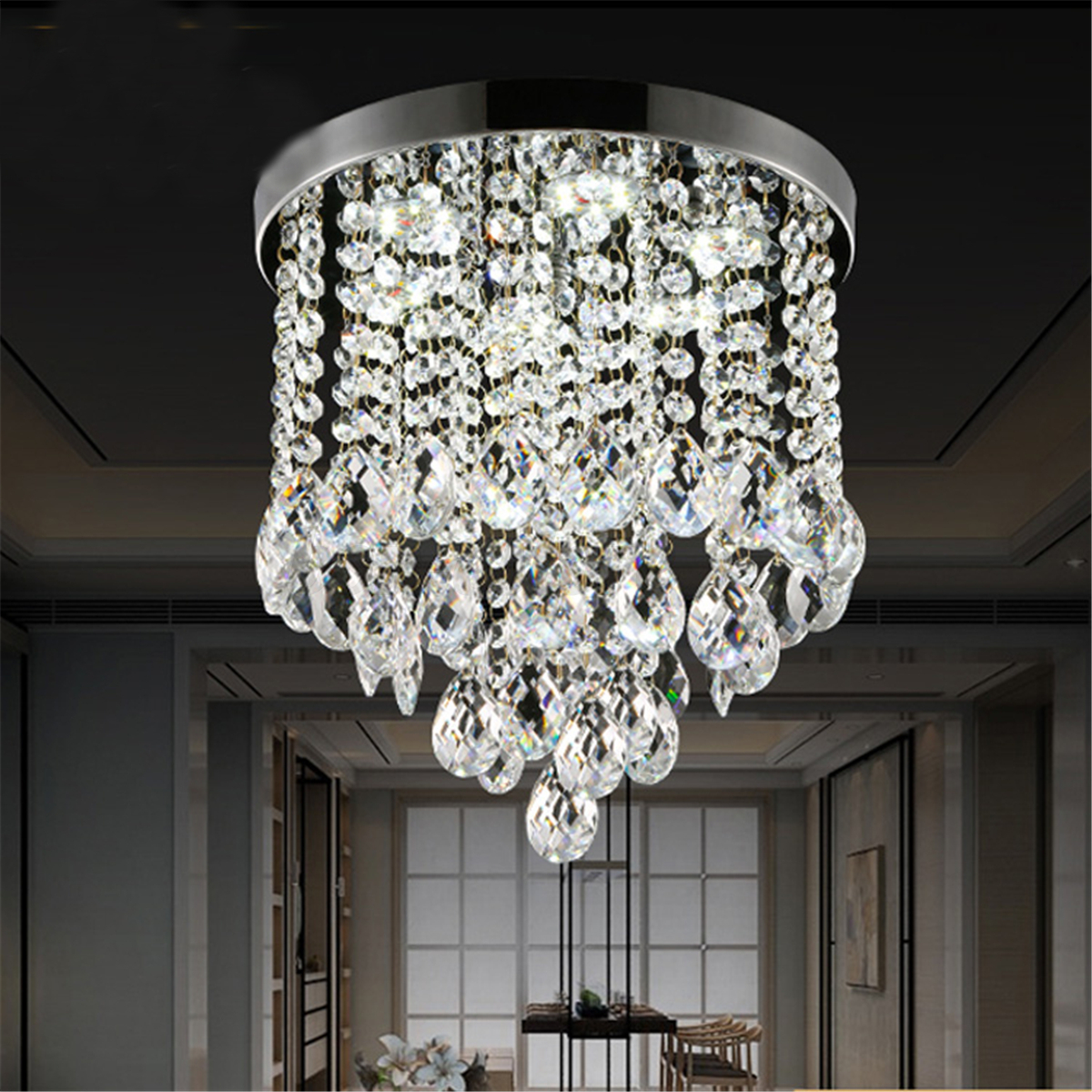 Fixture Lamp Crystal Pendant Chandelier Lamp Light Ceiling Flush Mount