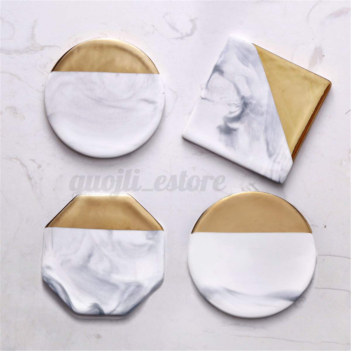 Cup Mat 3 Set Round Square Octagon Gold Coaster Coffee Cup Mat